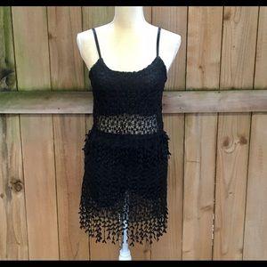 Gran Oriente 2-pc Boho Crochet Set in Black NWT